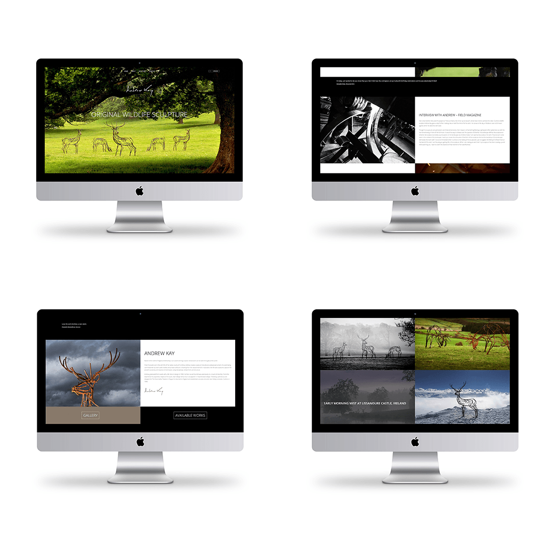 Website design thumbnails for Andrew Kay Sculpture
