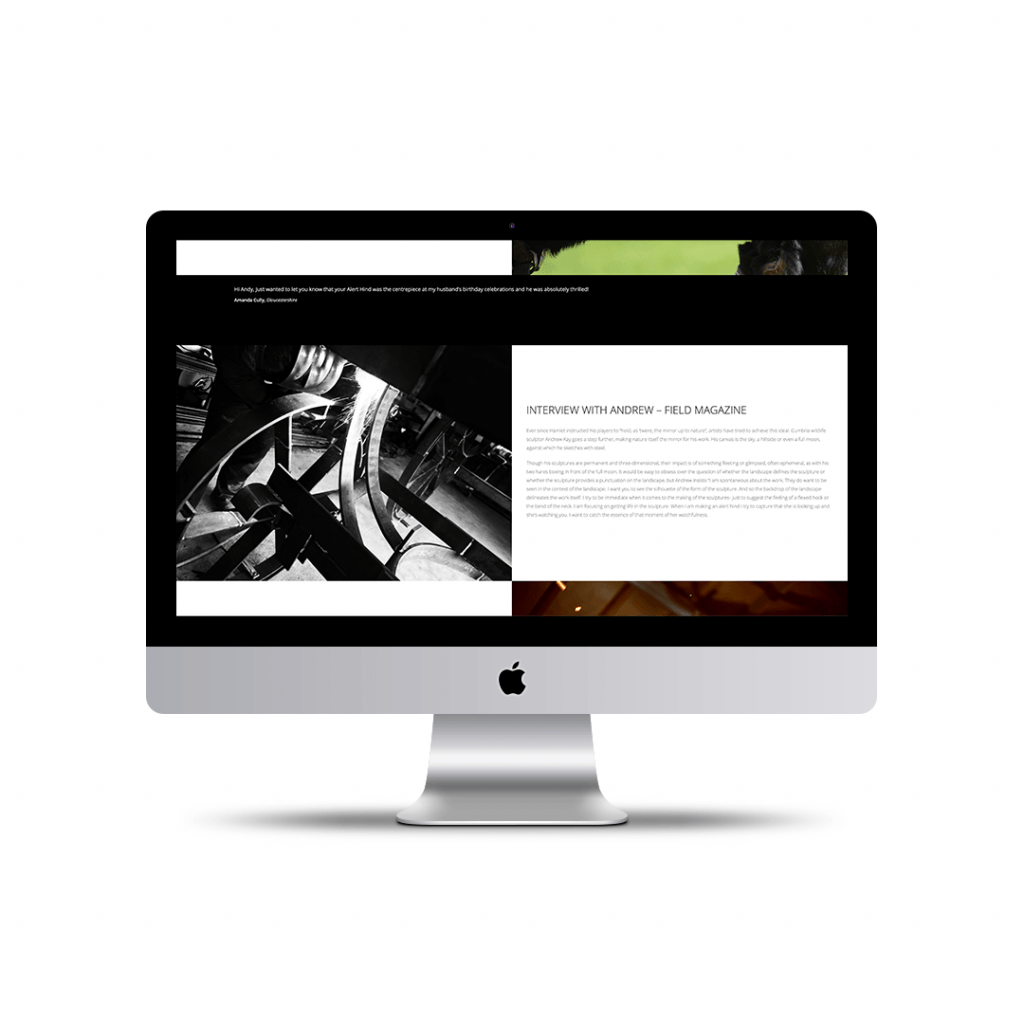 About page website design for Andrew Kay Sculpture