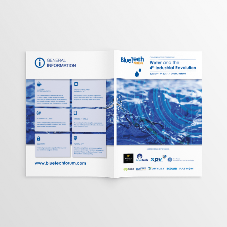Front & back cover for Blue Tech Research conference programme