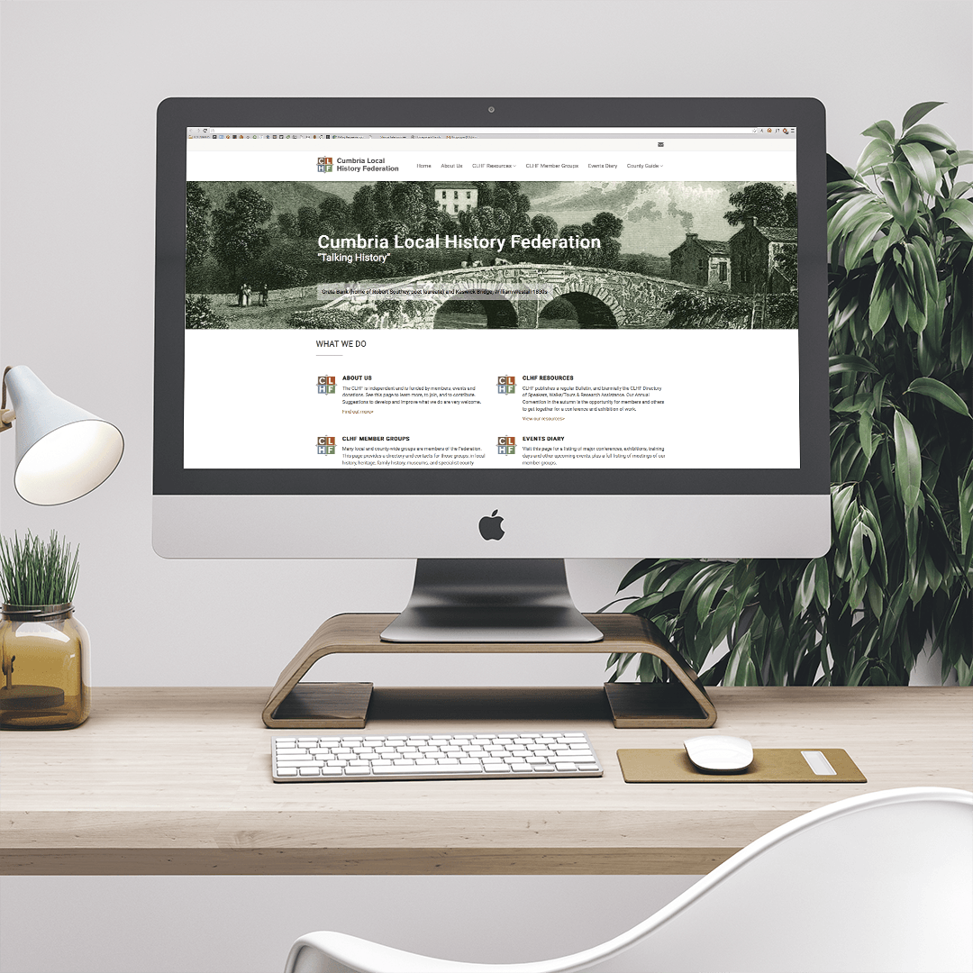 Home page design of the website for Cumbria Local History Federation