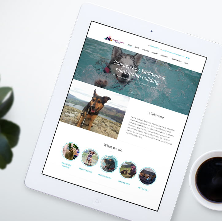 Home page website design for Cumbria Canine Services