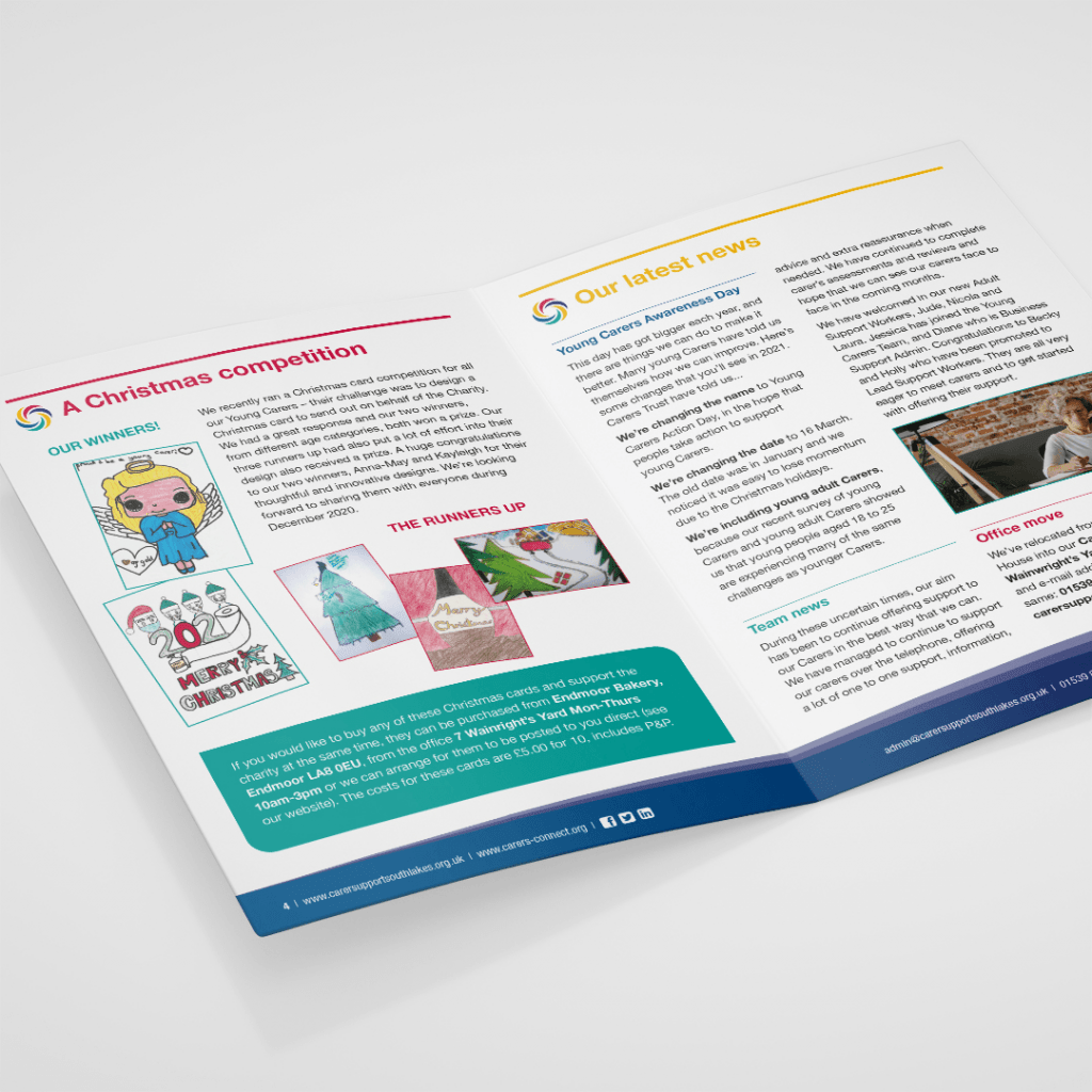 Quarterly newsletter design for cumbrian charity Carer Support South Lakes