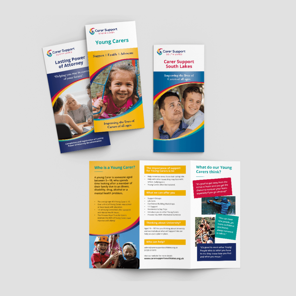 Suite of service leaflets for cumbrian charity Carer Support South Lakes