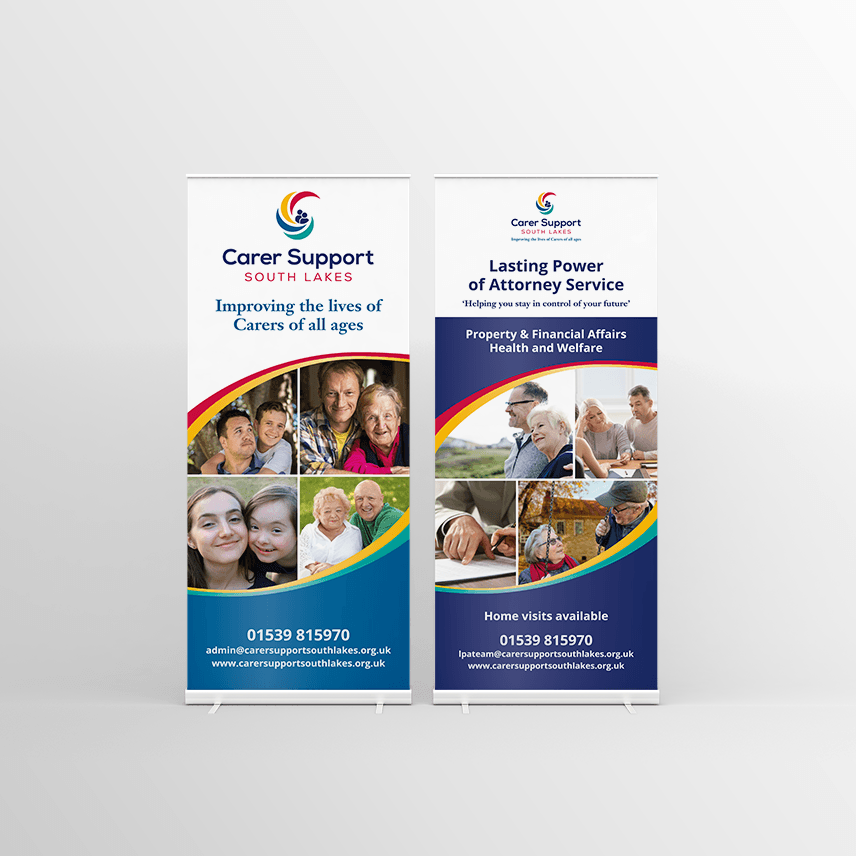 Roller banner design for cumbrian charity Carer Support South Lakes