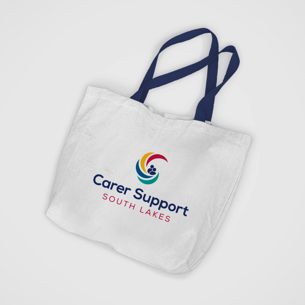 Canvas tote bag which displays the Carer Support South Lakes logo