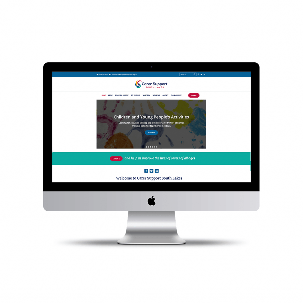 Home page website design for Carer Support South Lakes