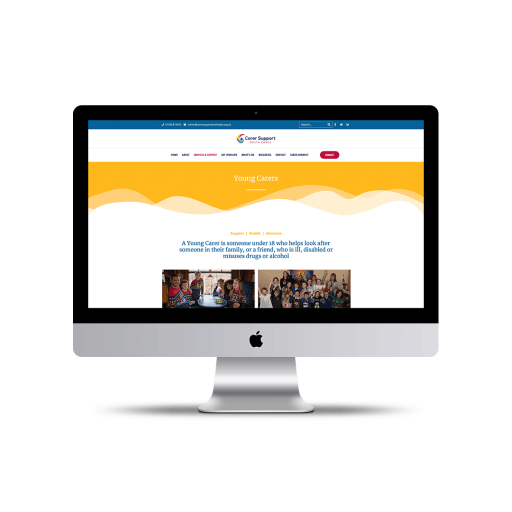 Young Carers page website design for Carer Support South Lakes