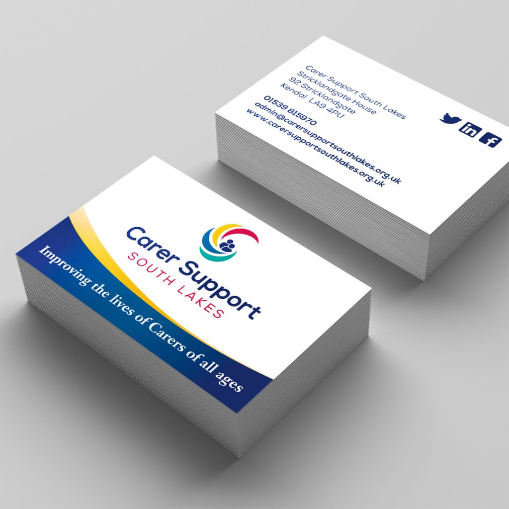 Front and back display of the Carer Support South Lakes business cards