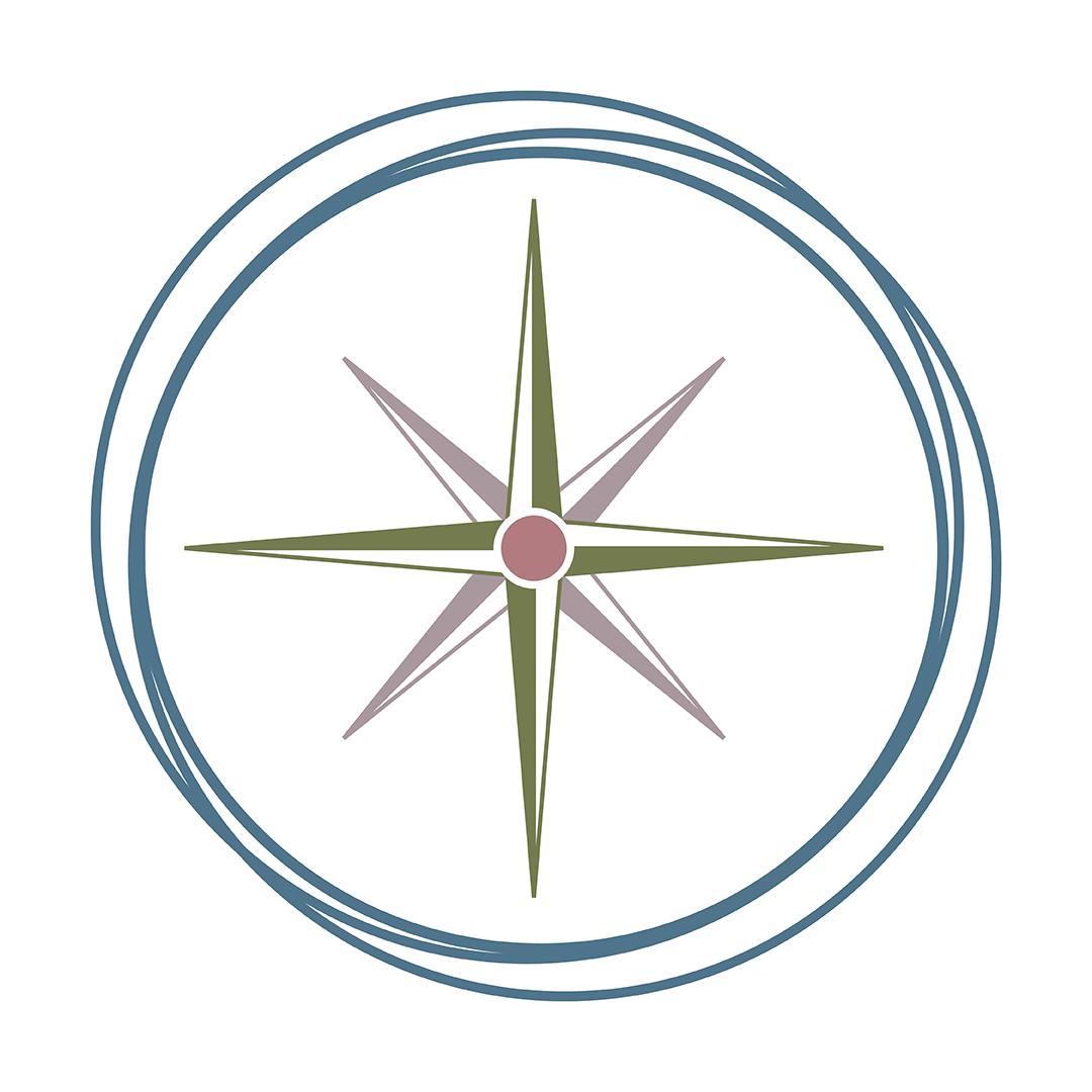 Brand Identity for Caroline Rose Management - a compass rose emblem