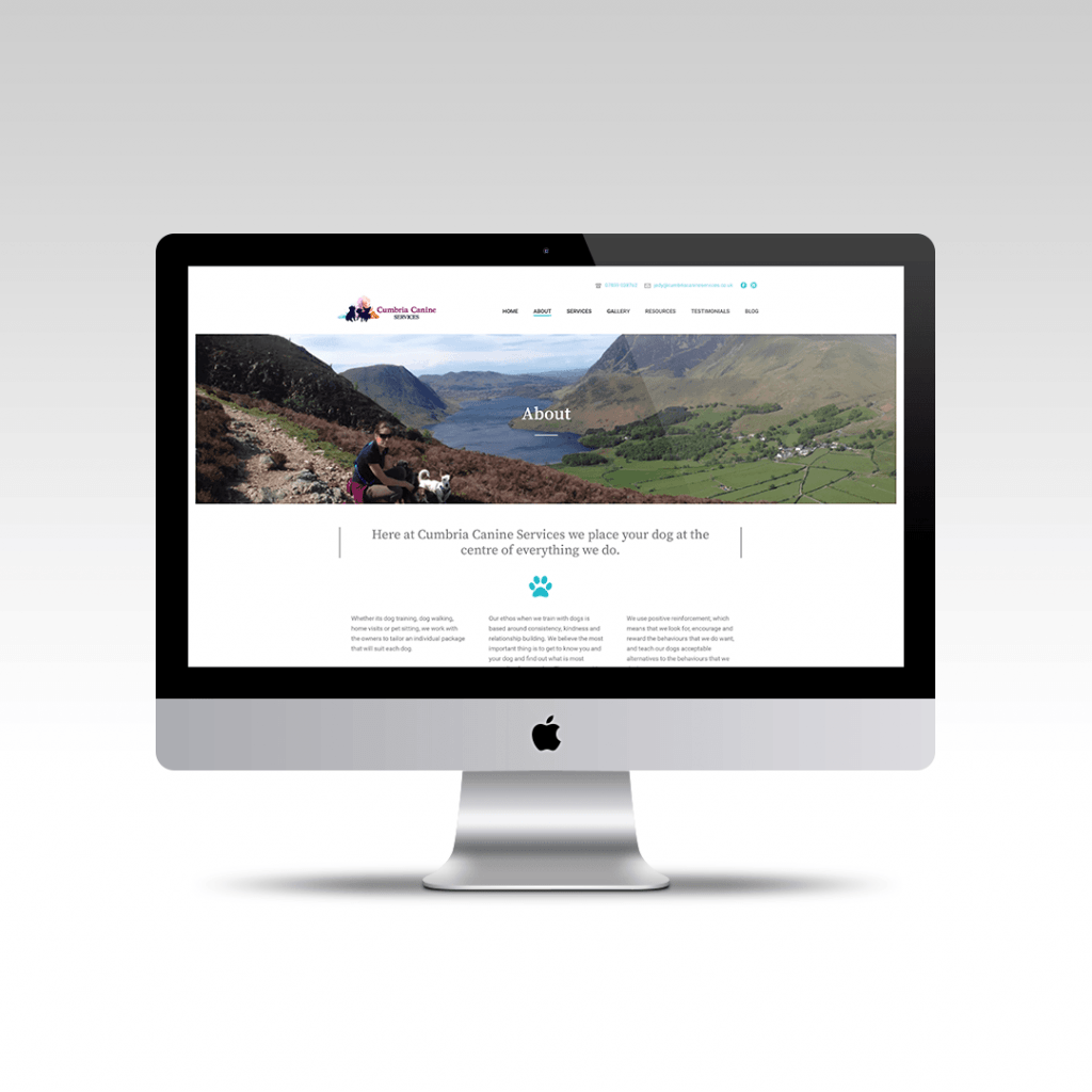 About page website design for Cumbria Canine Services