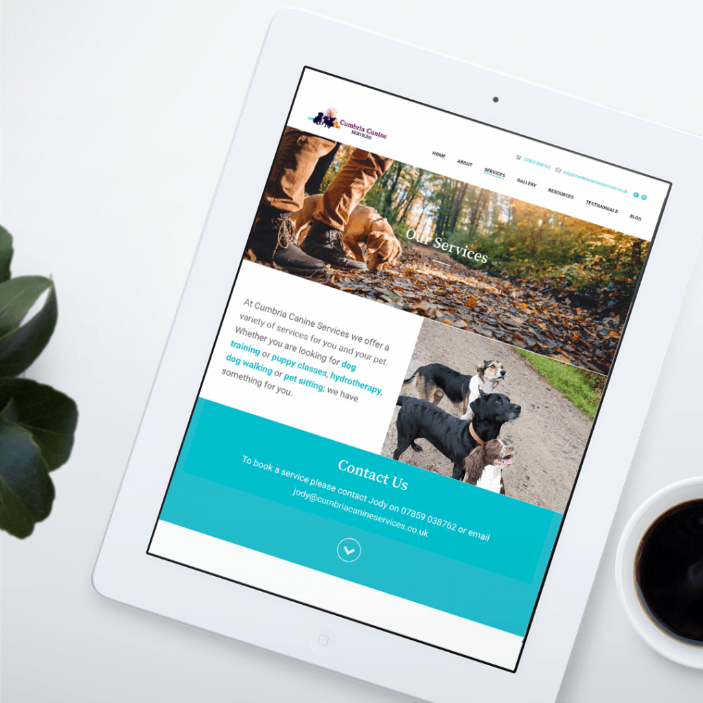 Services page website design for Cumbria Canine Services