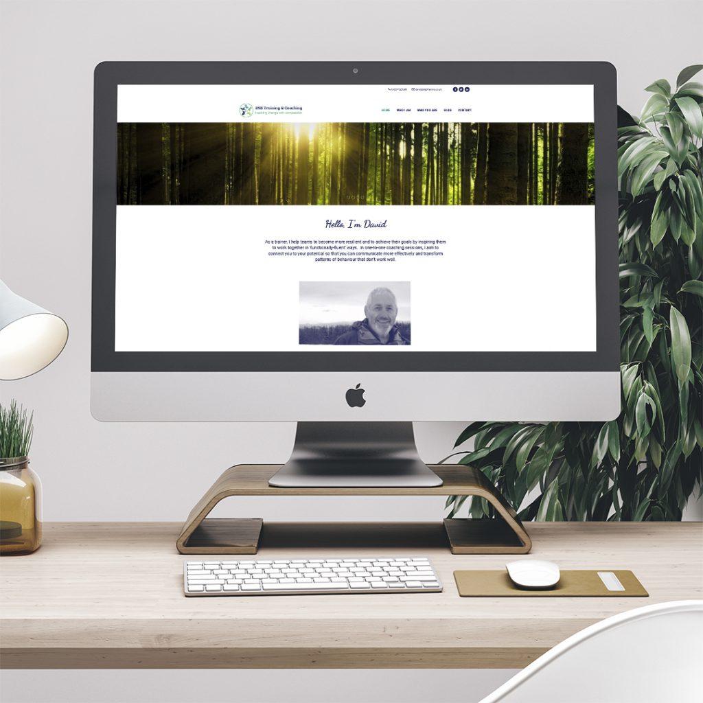 Desktop displaying the home page website design for DSB Training