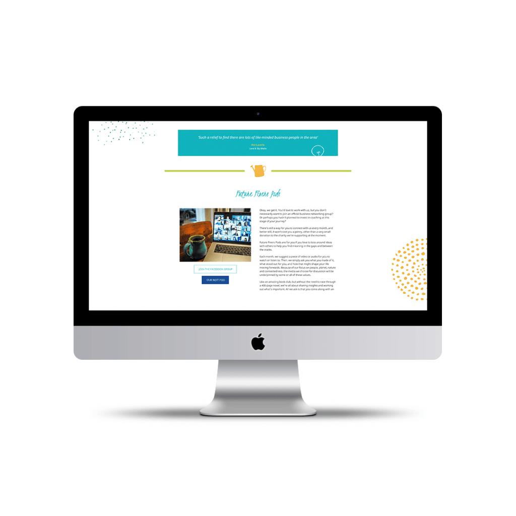 Website Design portfolio piece for Future Fixers – Networking page