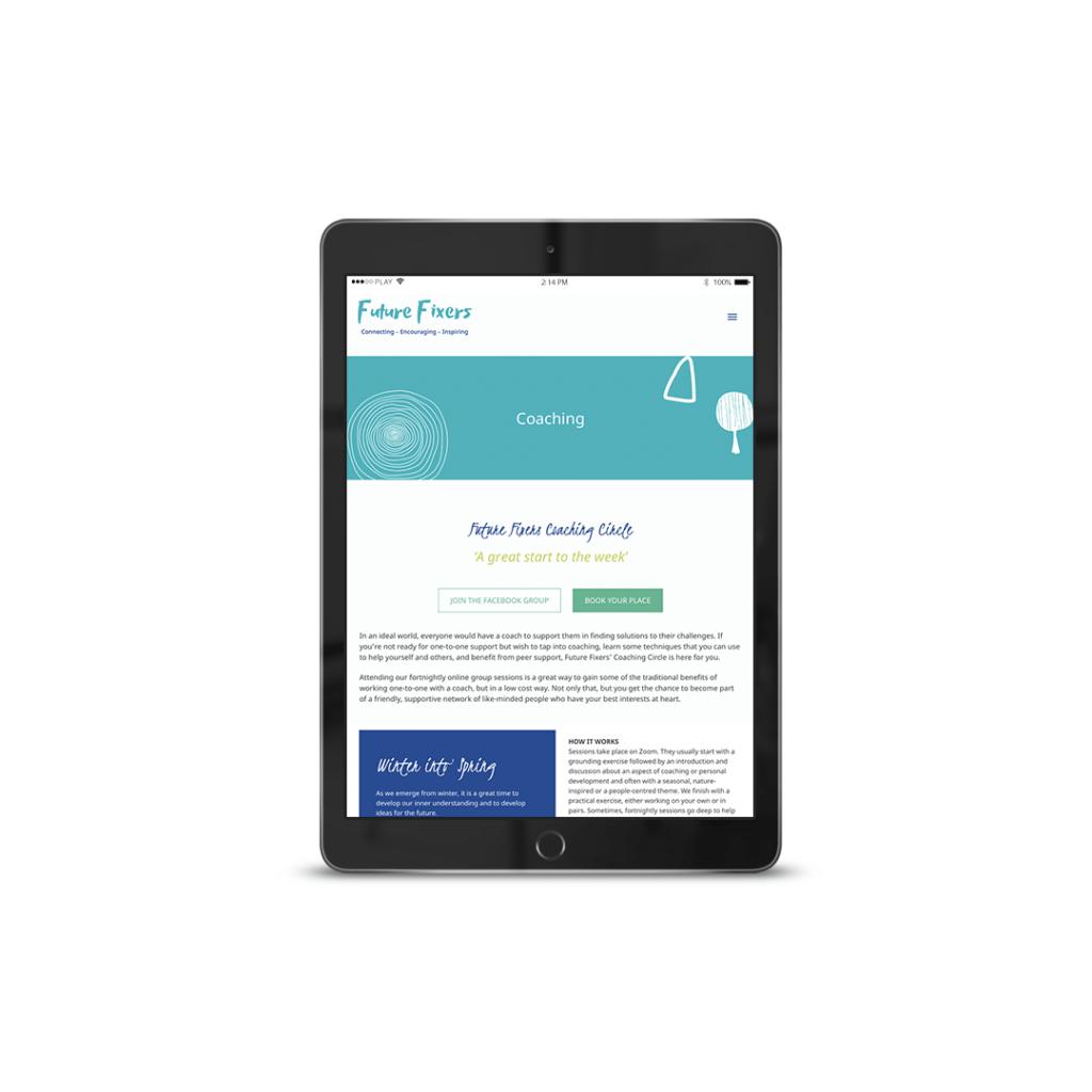 Website Design portfolio piece for Future Fixers – Coaching Page