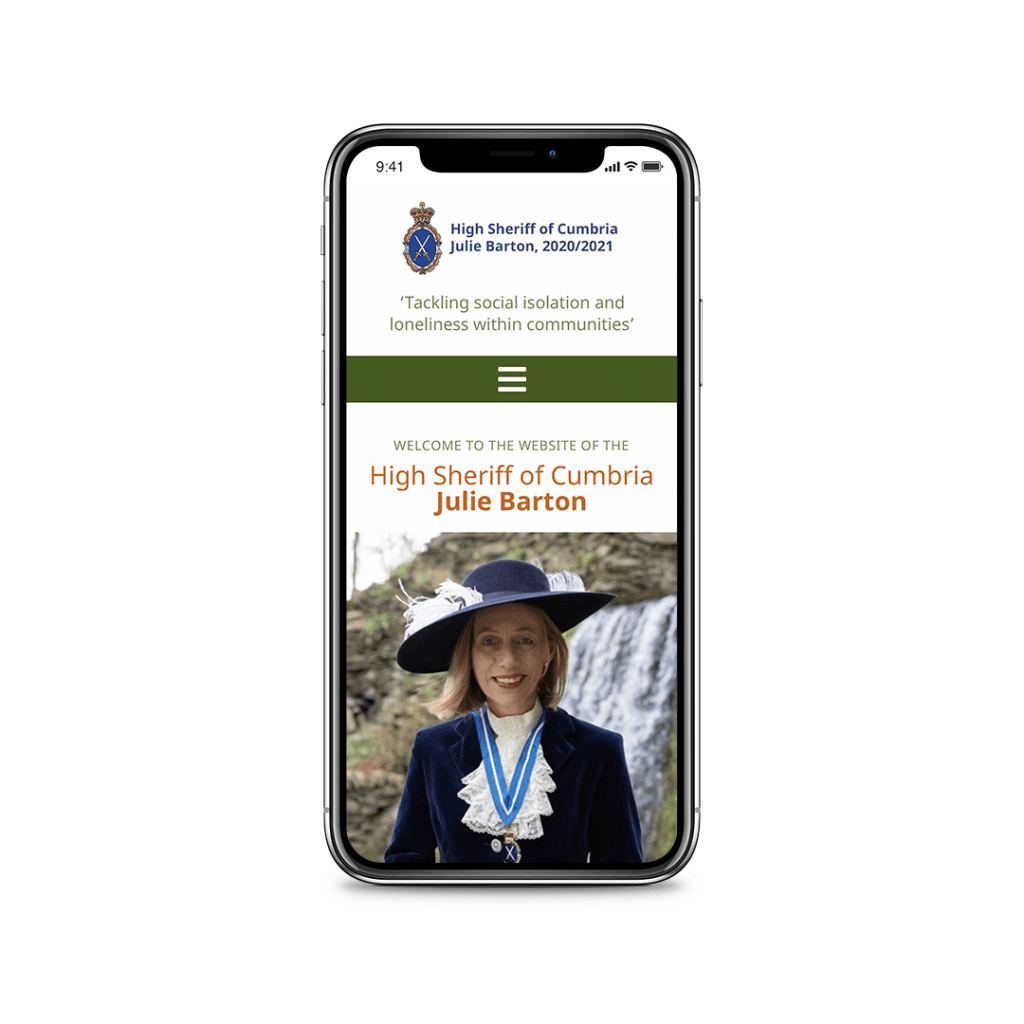Portfolio picture Website Design for the High Sheriff of Cumbria – Home Page
