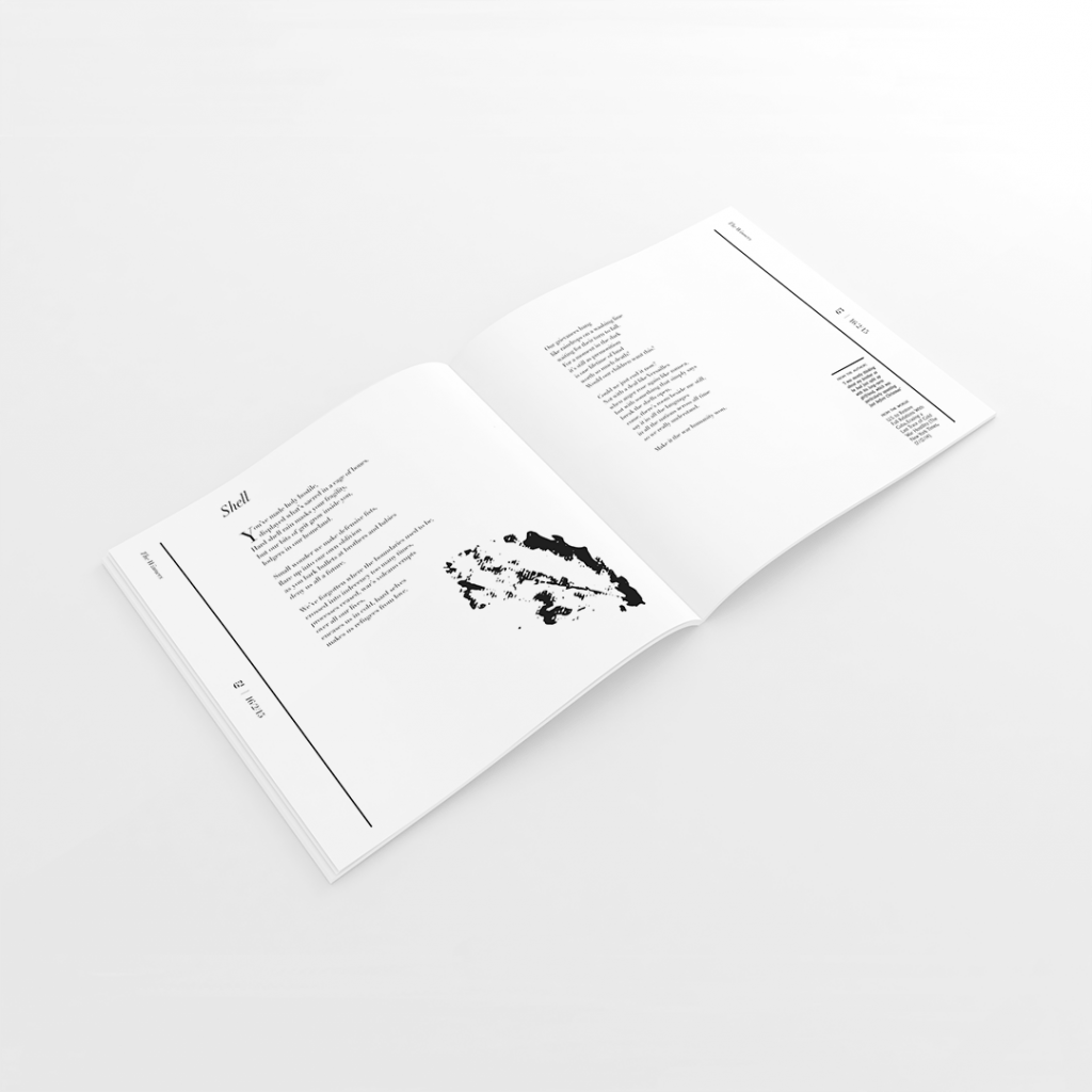Publication spread for the Hour of Writes Annual for 2015