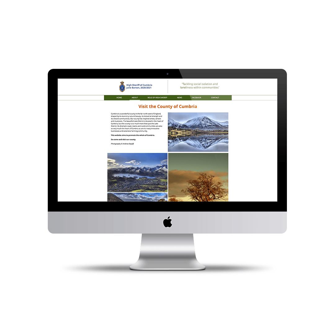 Portfolio picture Website Design for the High Sheriff of Cumbria – Visit Cumbria Page