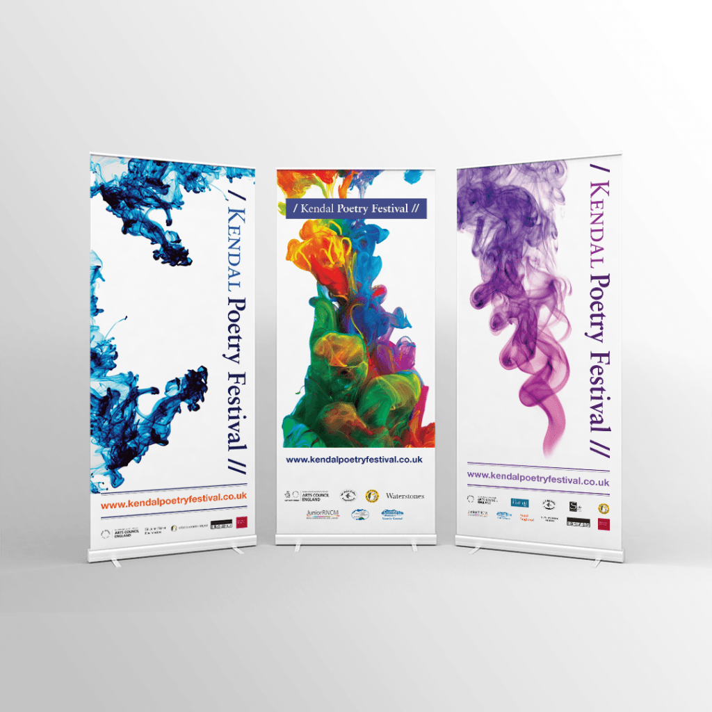 Roller banners for the Kendal Poetry Festival in 2016, 2017 & 2018