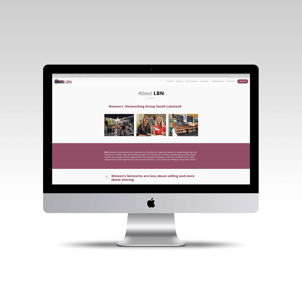 Desktop displaying the about section for Lakeland Businesswomens Network