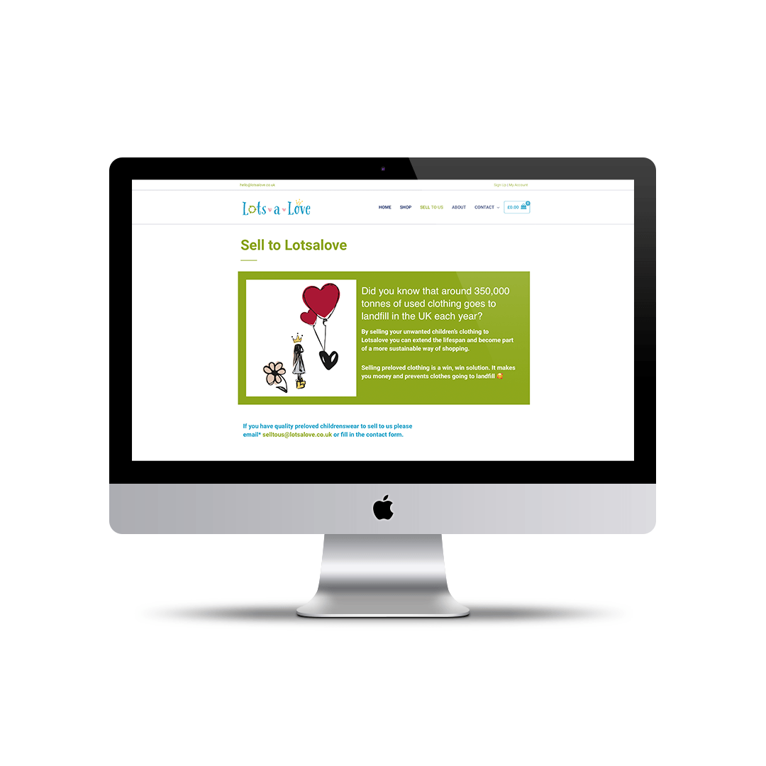 Website design for Lotsalove - quality preloved childrenswear