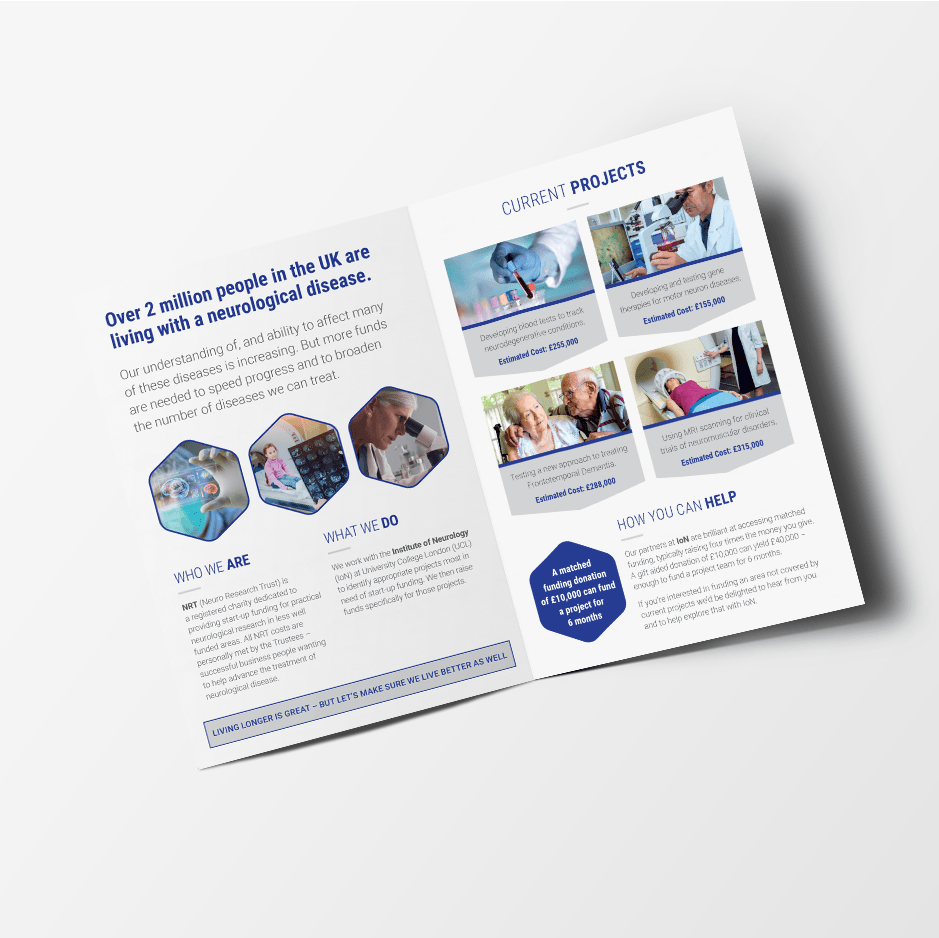 Design for the inside of the brochure for charity Neuro Research Trust