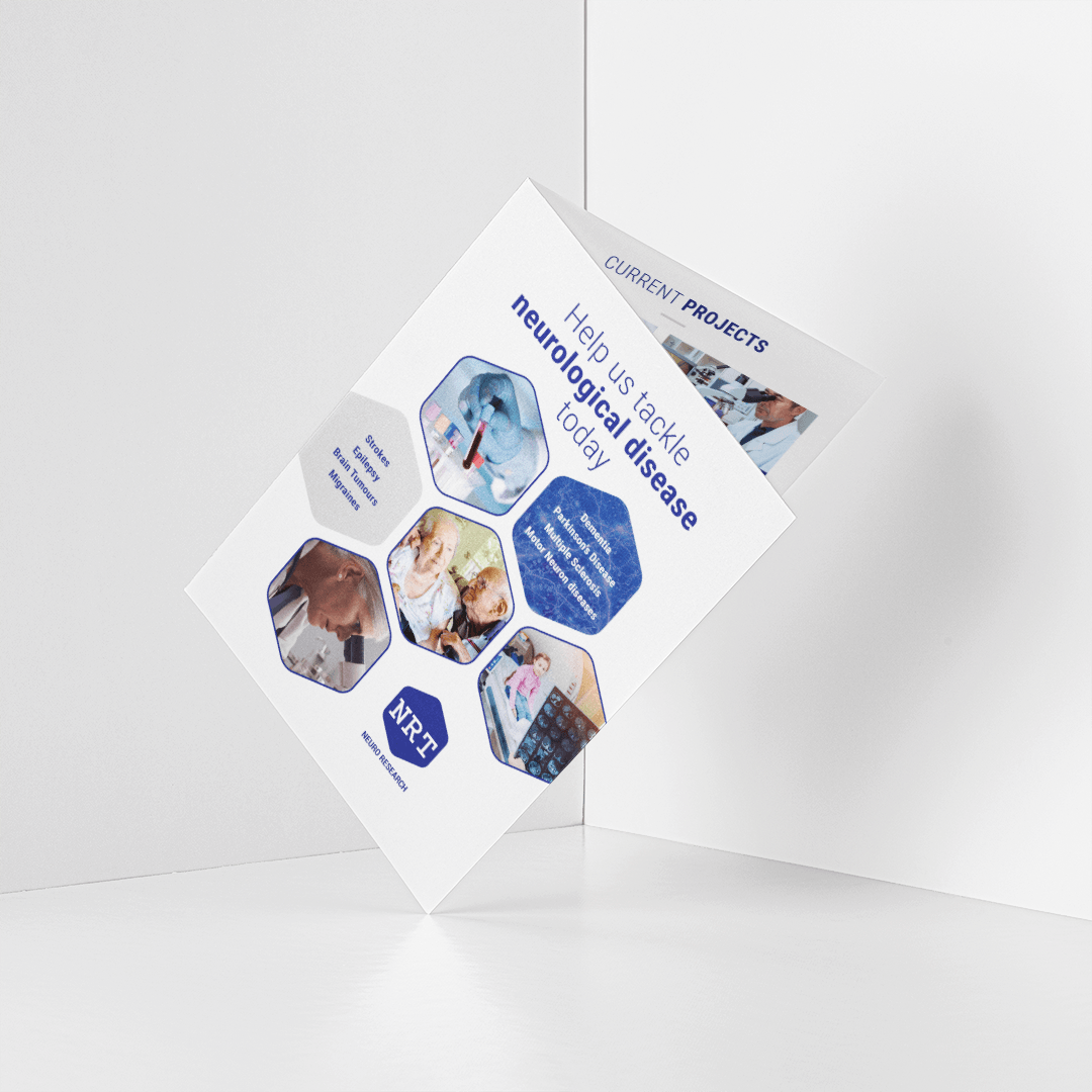 Design of brochure cover for charity Neuro Research Trust