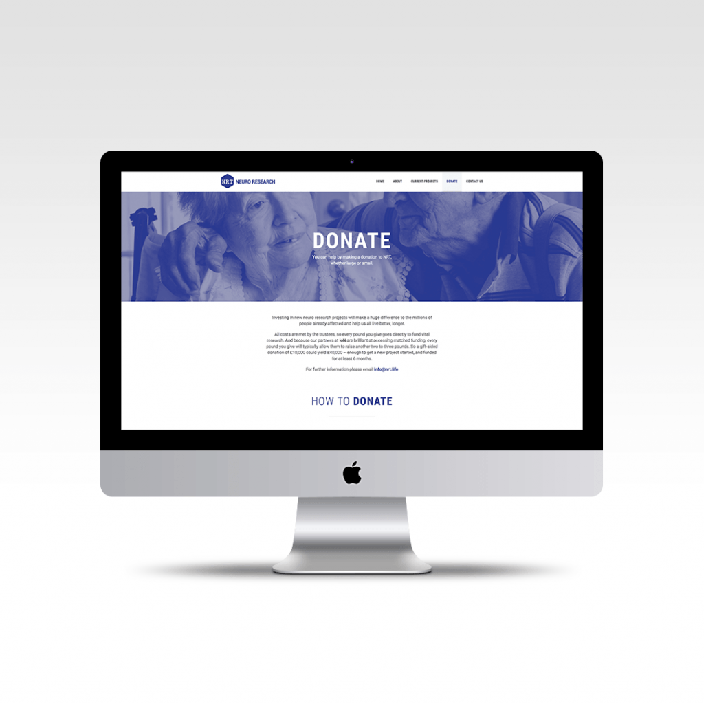 How to donate page website design for charity Neuro Research Trust