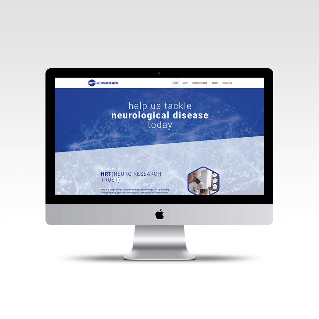 Home page website design featuring the hero section for charity Neuro Research Trust