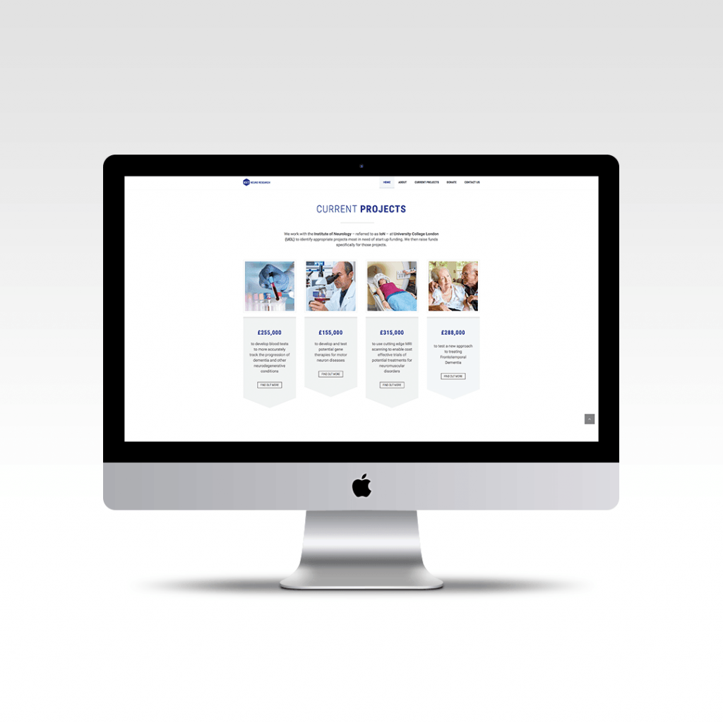 Home page website design featuring the current projects for charity Neuro Research Trust
