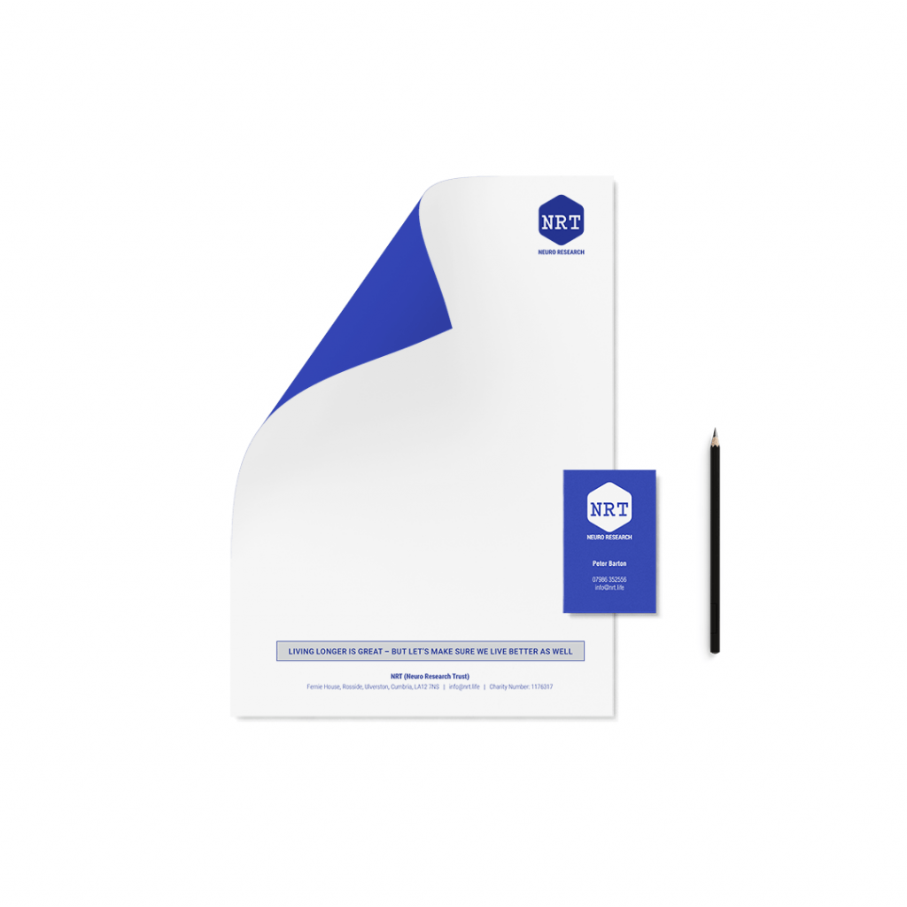 Letterhead and business card designs for charity Neuro Research Trust