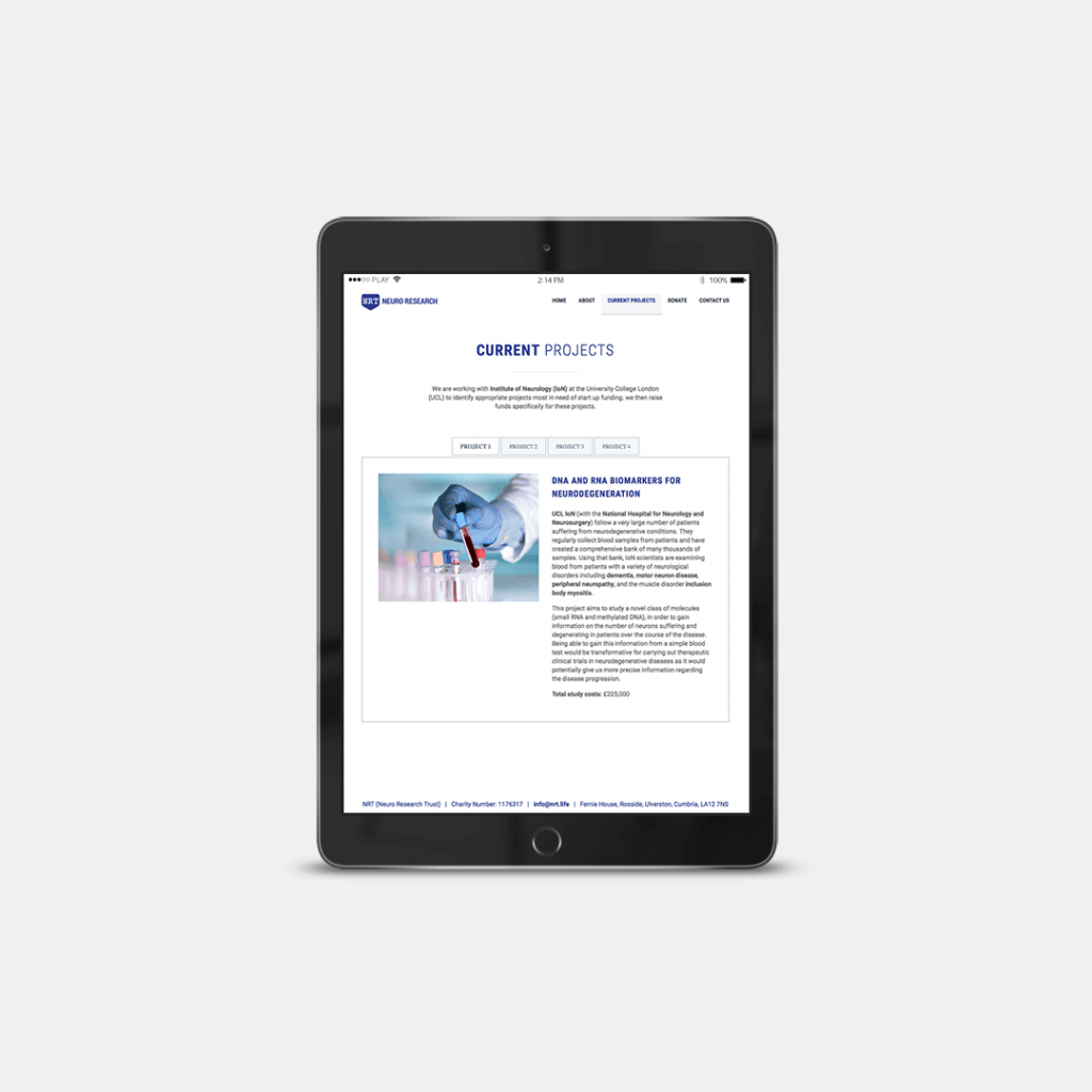 Current projects page website design for charity Neuro Research Trust