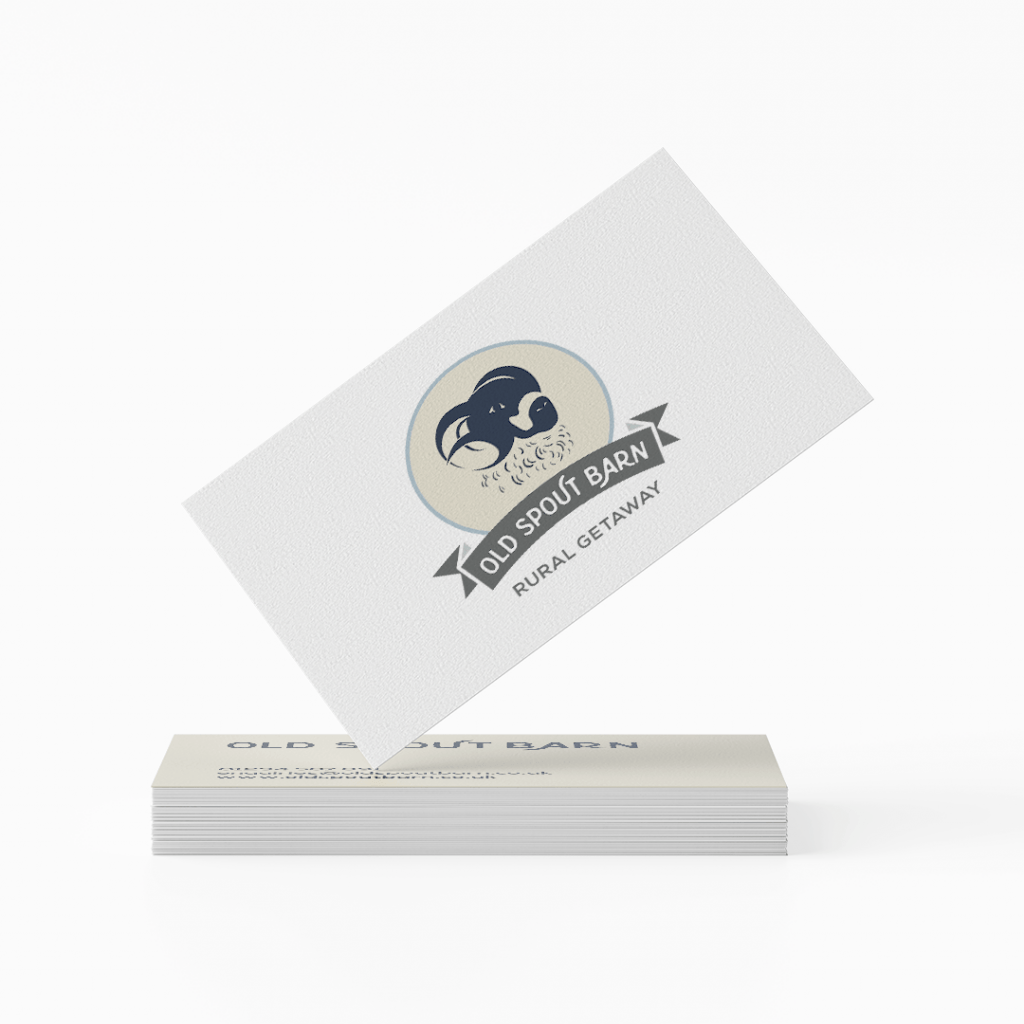 Old Spout Barn logo on business card Design by Lil Creative Studio