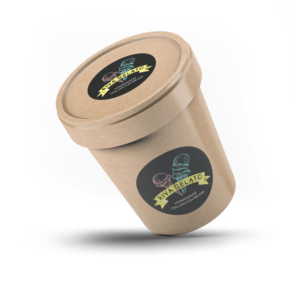 Chalkboard inspired brand identity for Riva Gelato handmade icecream on icecream tub