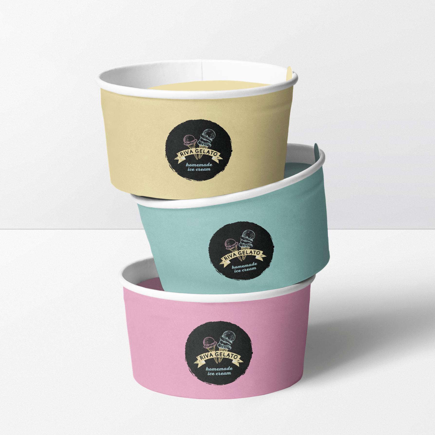 Brand identity for Riva Gelato handmade icecream on icecream pots