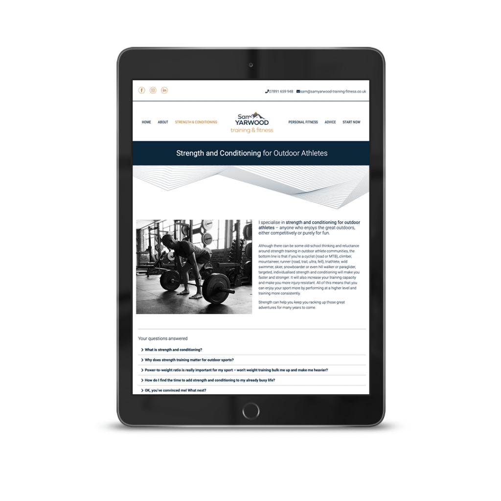 About me website design for Sam Yarwood Strength & Conditioning