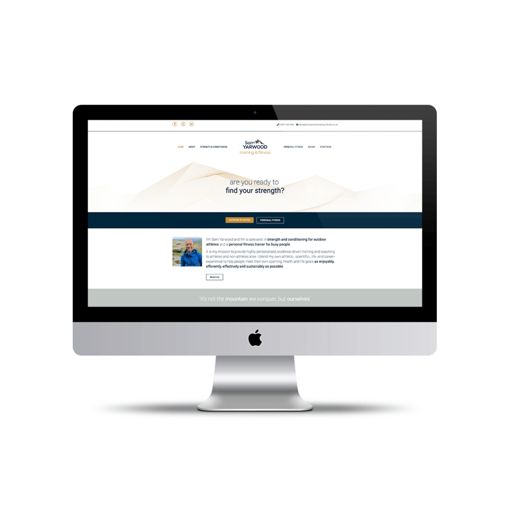 Home page website design for Sam Yarwood Strength & Conditioning