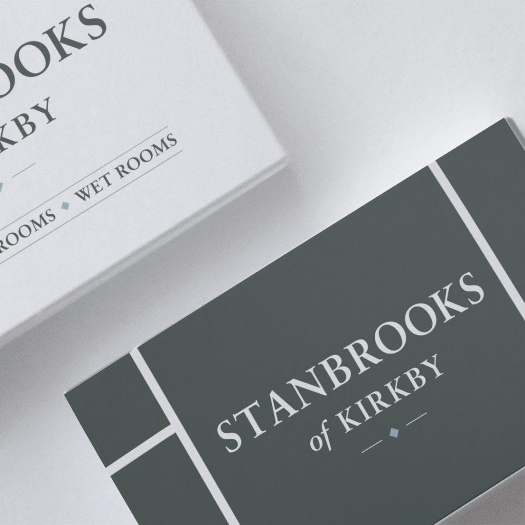 Logo design on a business card for Stanbrooks of Kirkby