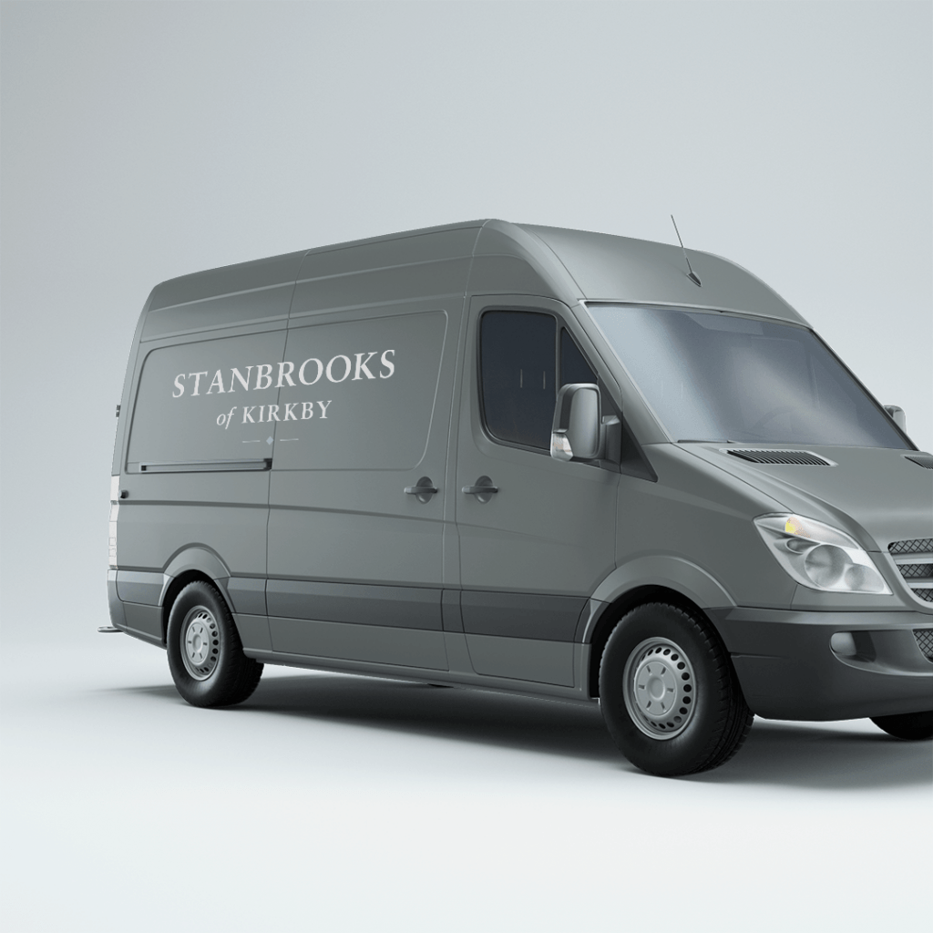 Logo design on a the side of a van for Stanbrooks of Kirkby
