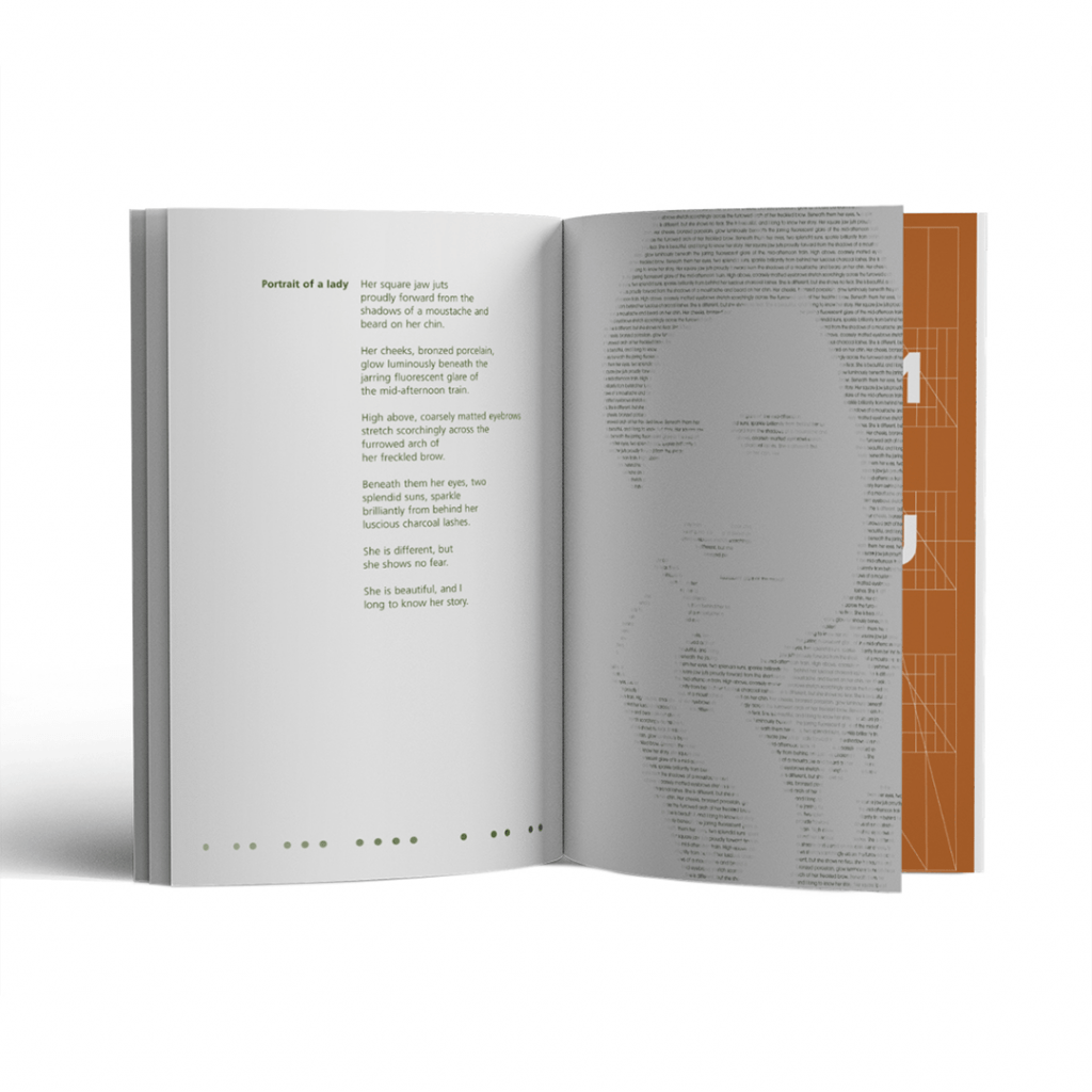 Page spread for Portrait of a lady poem in book publication Unification