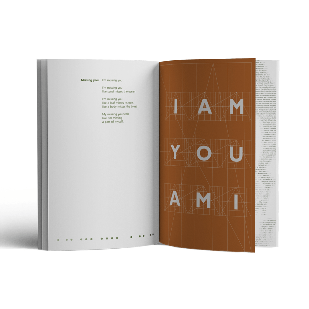 Page spread for You am I poem in book publication Unification