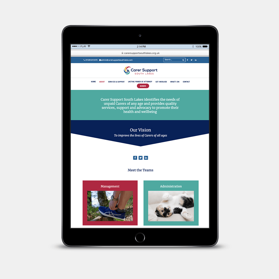 About the charity page website design for Carer Support South Lakes
