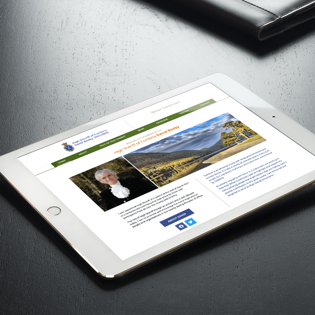 Website Design for David Beeby the High Sheriff of Cumbria – Home Page hero on a tablet