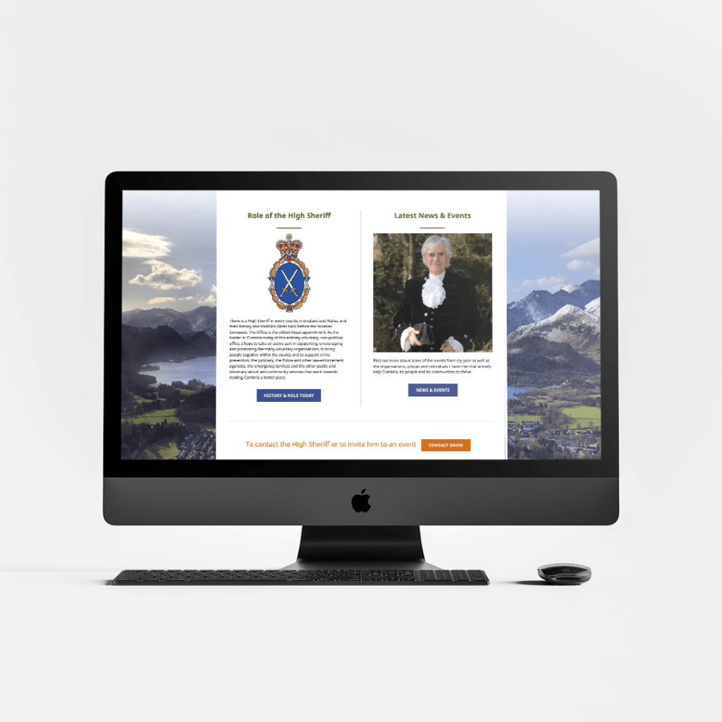 Website Design for David Beeby the High Sheriff of Cumbria featuring the role of the high sheriff and latest news