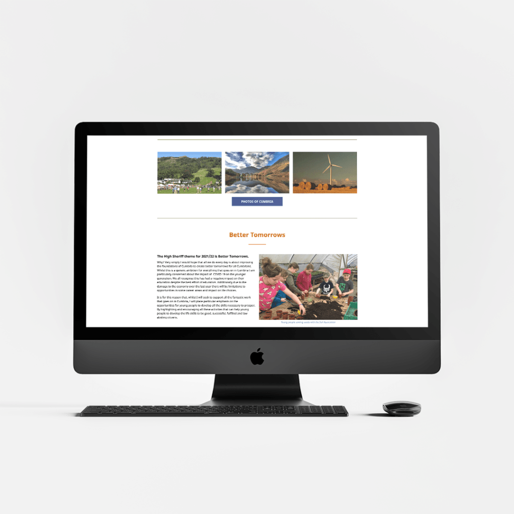 Website Design for David Beeby the High Sheriff of Cumbria featuring the charity for 2021
