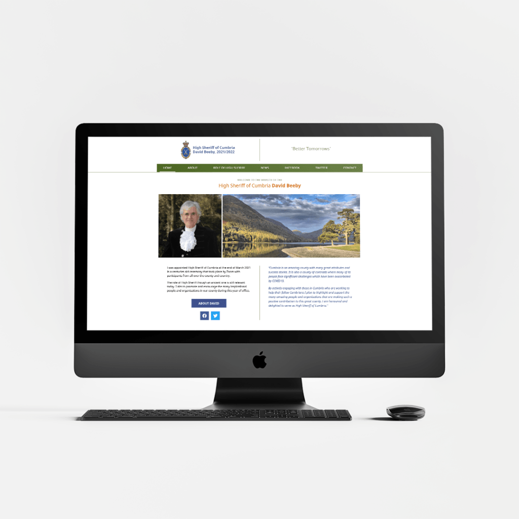 Website Design for David Beeby the High Sheriff of Cumbria – Home Page hero